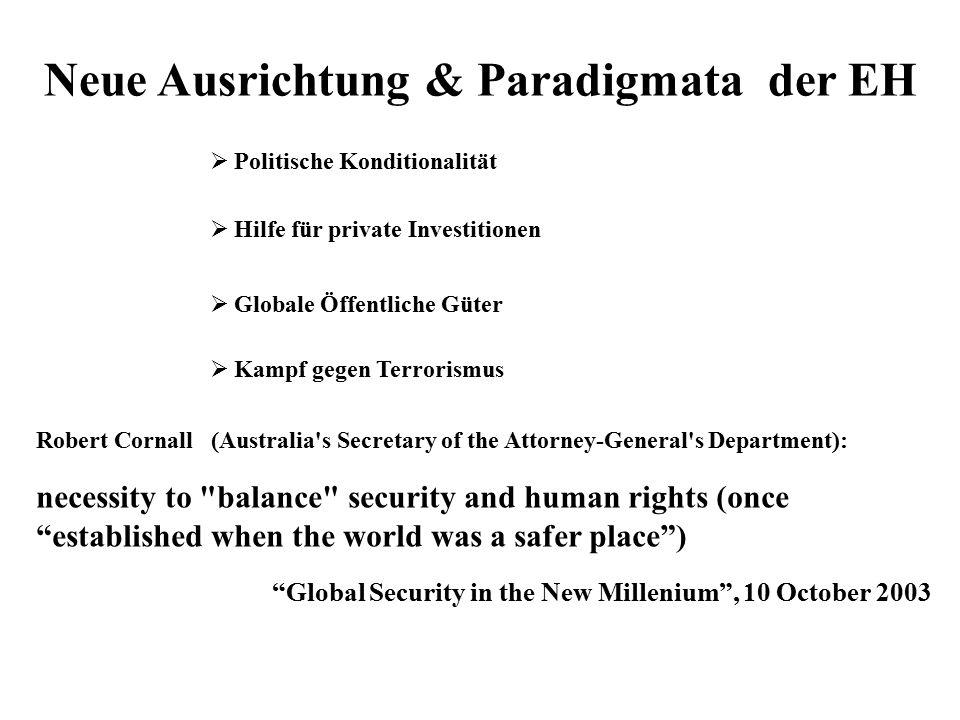 Neue Ausrichtung & Paradigmata der EH  Hilfe für private Investitionen  Politische Konditionalität  Globale Öffentliche Güter  Kampf gegen Terrori