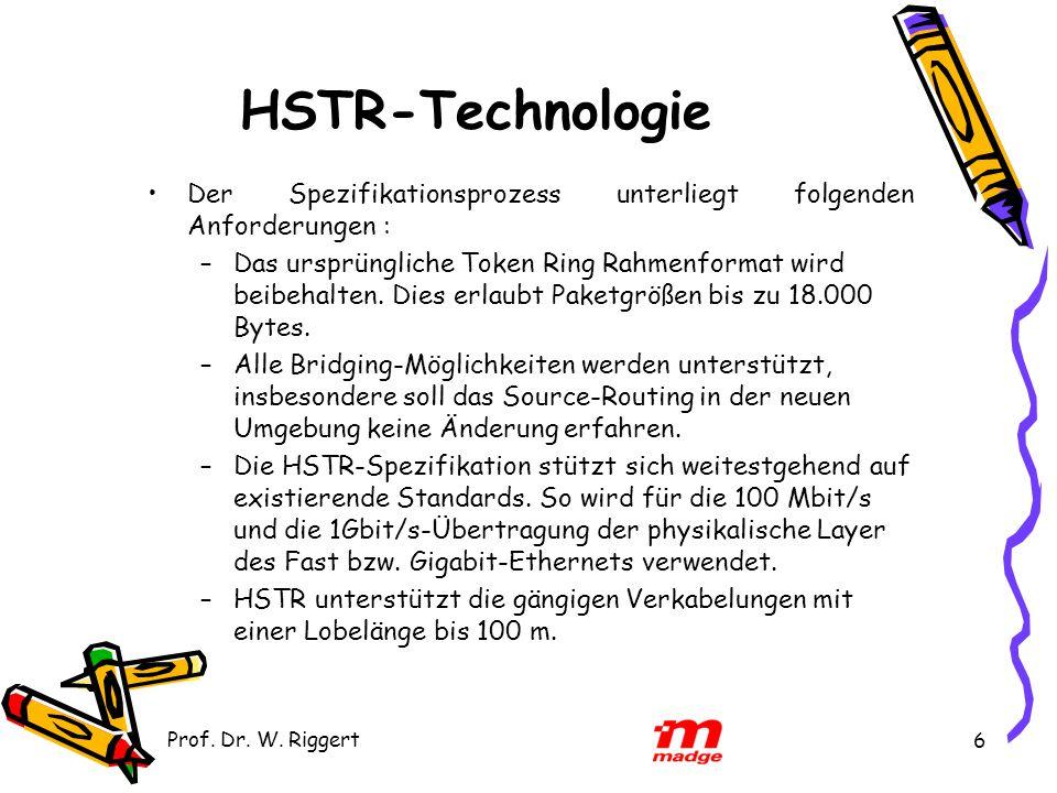 Prof. Dr. W. Riggert 6 HSTR-Technologie Der Spezifikationsprozess unterliegt folgenden Anforderungen : –Das ursprüngliche Token Ring Rahmenformat wird