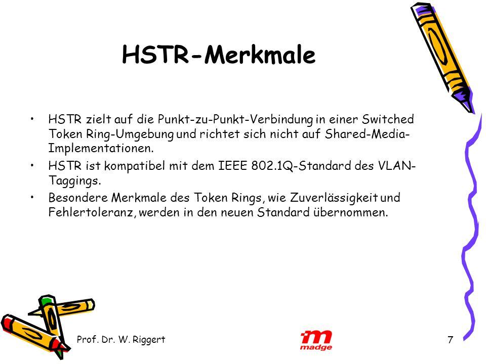 Prof. Dr. W. Riggert 7 HSTR-Merkmale HSTR zielt auf die Punkt-zu-Punkt-Verbindung in einer Switched Token Ring-Umgebung und richtet sich nicht auf Sha