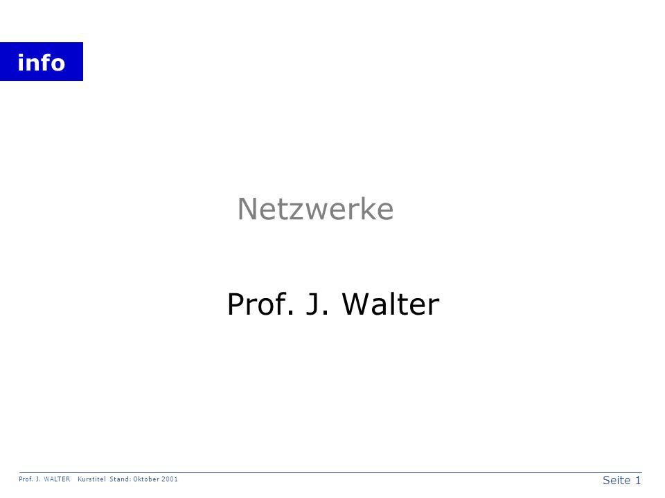 Seite 1 Prof. J. WALTER Kurstitel Stand: Oktober 2001 info Netzwerke Prof. J. Walter