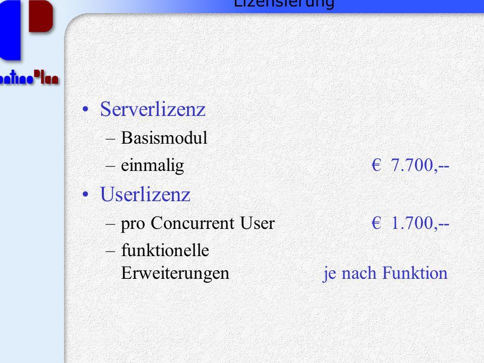Lizensierung Serverlizenz –Basismodul –einmalig € 7.700,-- Userlizenz –pro Concurrent User€ 1.700,-- –funktionelle Erweiterungenje nach Funktion
