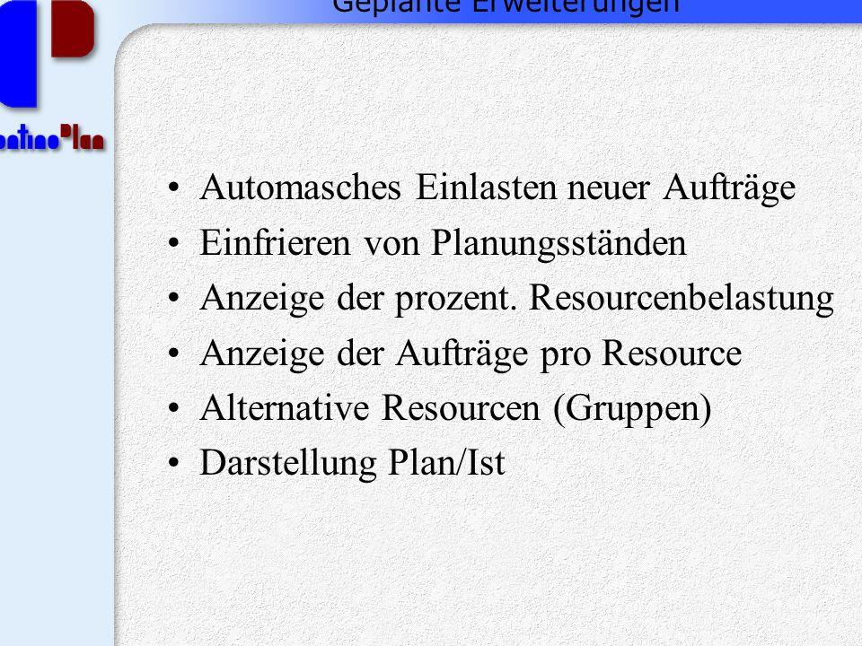 Geplante Erweiterungen Automasches Einlasten neuer Aufträge Einfrieren von Planungsständen Anzeige der prozent.