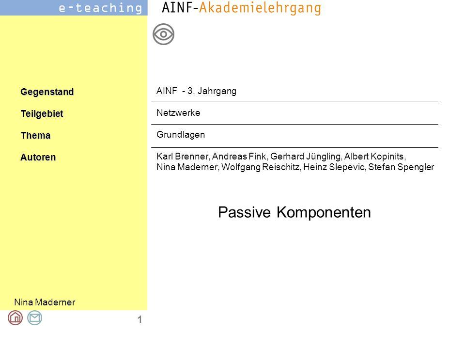 Nina Maderner GegenstandTeilgebietThemaAutoren 1 Passive Komponenten AINF - 3. Jahrgang Netzwerke Grundlagen Karl Brenner, Andreas Fink, Gerhard Jüngl