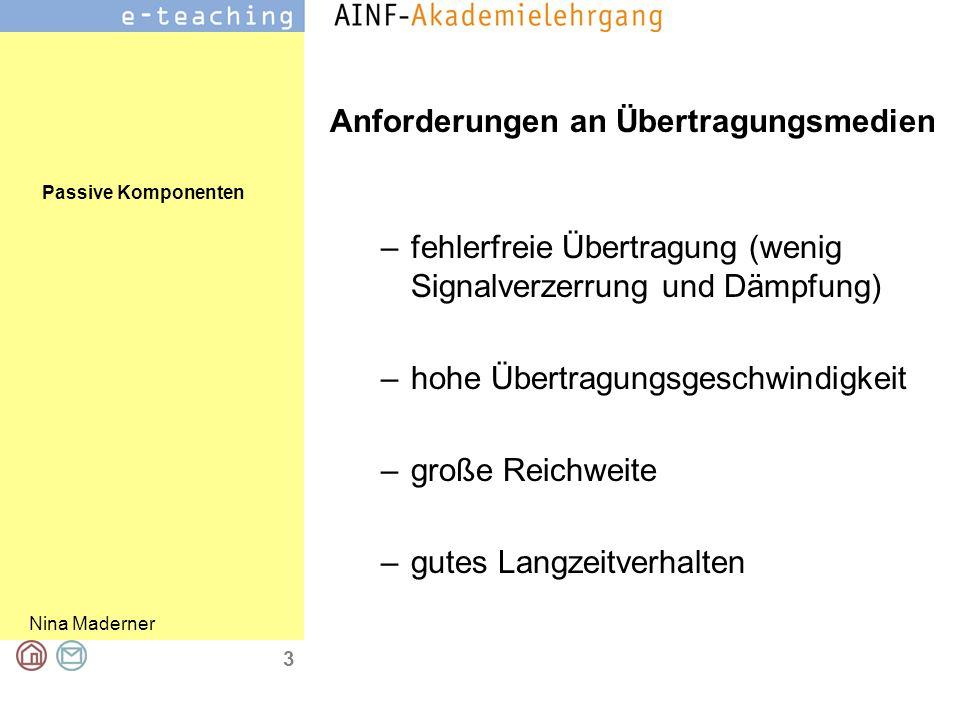 Passive Komponenten Nina Maderner 3 Anforderungen an Übertragungsmedien –fehlerfreie Übertragung (wenig Signalverzerrung und Dämpfung) –hohe Übertragu
