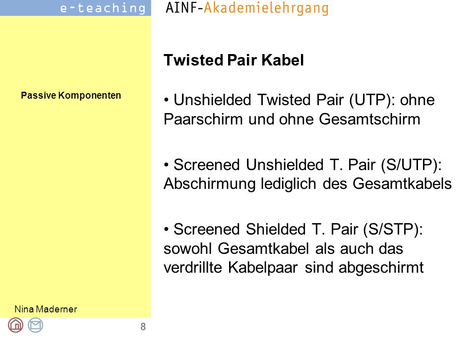 Passive Komponenten Nina Maderner 8 Twisted Pair Kabel Unshielded Twisted Pair (UTP): ohne Paarschirm und ohne Gesamtschirm Screened Unshielded T. Pai