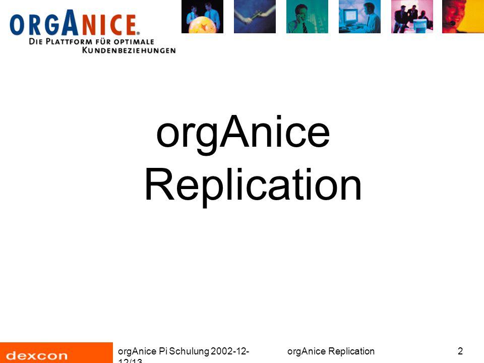 orgAnice Pi Schulung 2002-12- 12/13 orgAnice Replication3 Replication Zweck Vergleich: Online- und Offline-Abgleich Voraussetzungen Konfliktlösung Installation Vorbereiten der Datenbank Datenabgleich