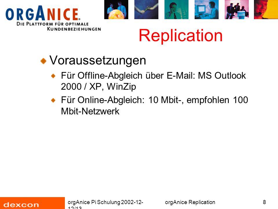 orgAnice Pi Schulung 2002-12- 12/13 orgAnice Replication8 Replication Voraussetzungen Für Offline-Abgleich über E-Mail: MS Outlook 2000 / XP, WinZip Für Online-Abgleich: 10 Mbit-, empfohlen 100 Mbit-Netzwerk