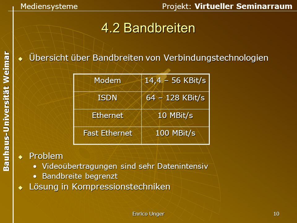Mediensysteme Projekt: Virtueller Seminarraum Bauhaus-Universität Weimar Enrico Unger 10 4.2 Bandbreiten  Übersicht über Bandbreiten von Verbindungst