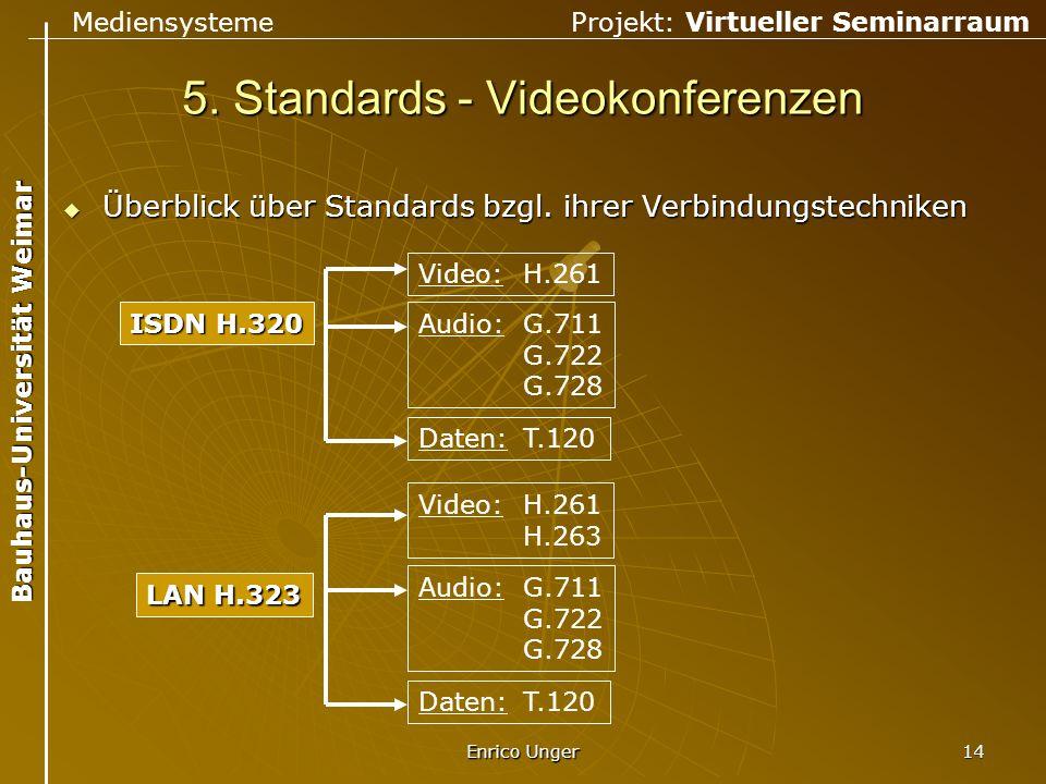 Mediensysteme Projekt: Virtueller Seminarraum Bauhaus-Universität Weimar Enrico Unger 14 5. Standards - Videokonferenzen  Überblick über Standards bz