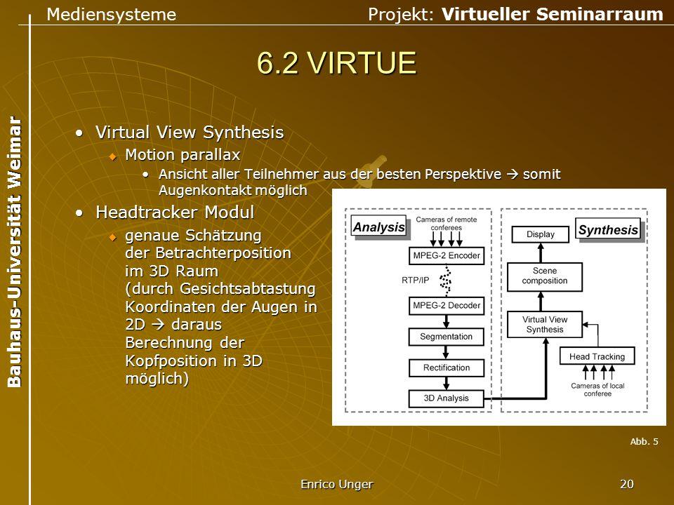 Mediensysteme Projekt: Virtueller Seminarraum Bauhaus-Universität Weimar Enrico Unger 20 6.2 VIRTUE Virtual View SynthesisVirtual View Synthesis  Mot