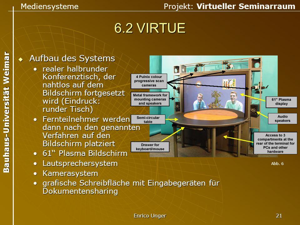 Mediensysteme Projekt: Virtueller Seminarraum Bauhaus-Universität Weimar Enrico Unger 21 6.2 VIRTUE  Aufbau des Systems realer halbrunder Konferenzti