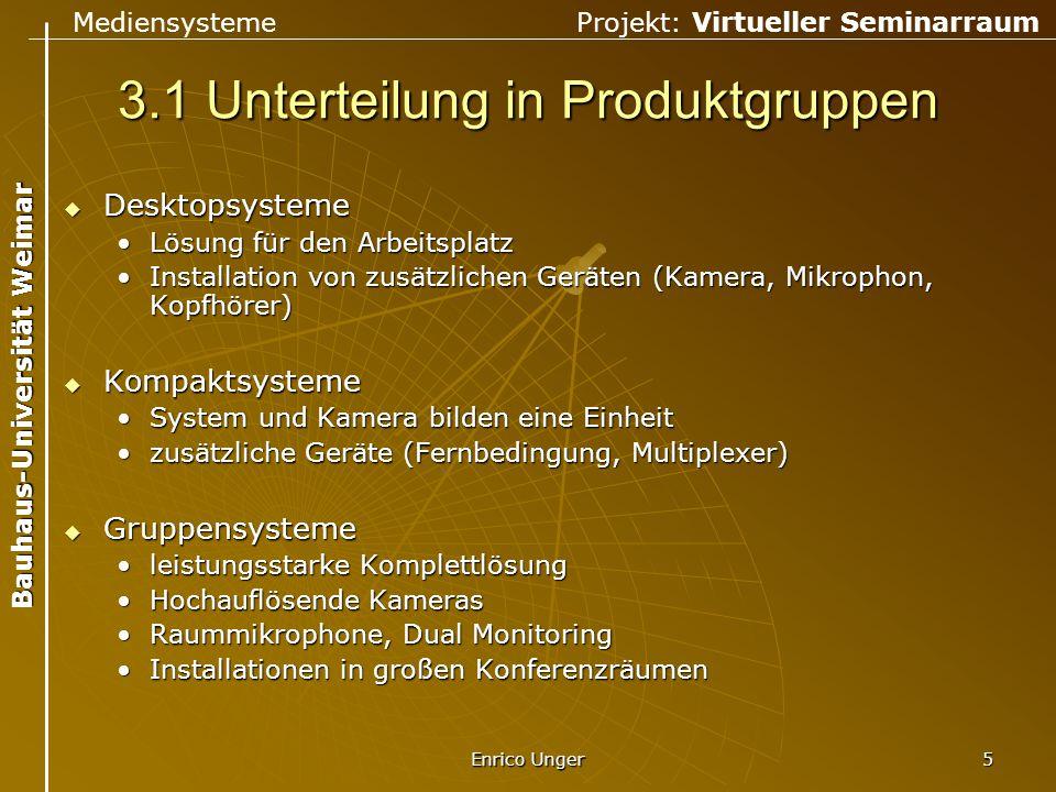 Mediensysteme Projekt: Virtueller Seminarraum Bauhaus-Universität Weimar Enrico Unger 5 3.1 Unterteilung in Produktgruppen  Desktopsysteme Lösung für