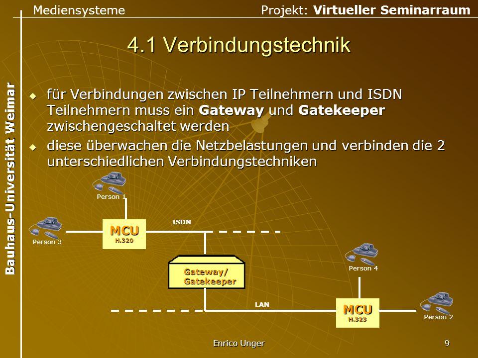 Mediensysteme Projekt: Virtueller Seminarraum Bauhaus-Universität Weimar Enrico Unger 10 4.2 Bandbreiten  Übersicht über Bandbreiten von Verbindungstechnologien  Problem Videoübertragungen sind sehr DatenintensivVideoübertragungen sind sehr Datenintensiv Bandbreite begrenztBandbreite begrenzt  Lösung in Kompressionstechniken Modem 14,4 – 56 KBit/s ISDN 64 – 128 KBit/s Ethernet 10 MBit/s Fast Ethernet 100 MBit/s