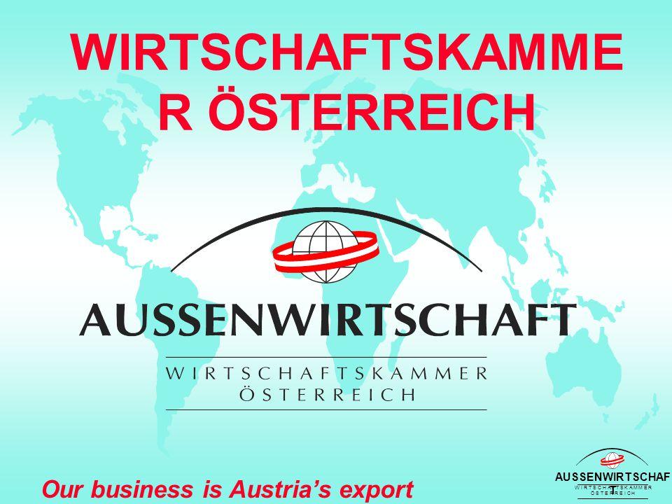 AUSSENWIRTSCHAF T W I R T S C H A F T S K A M M E R Ö S T E R R E I C H Our business is Austria's export success Außenwirtschaftsorganisatio n