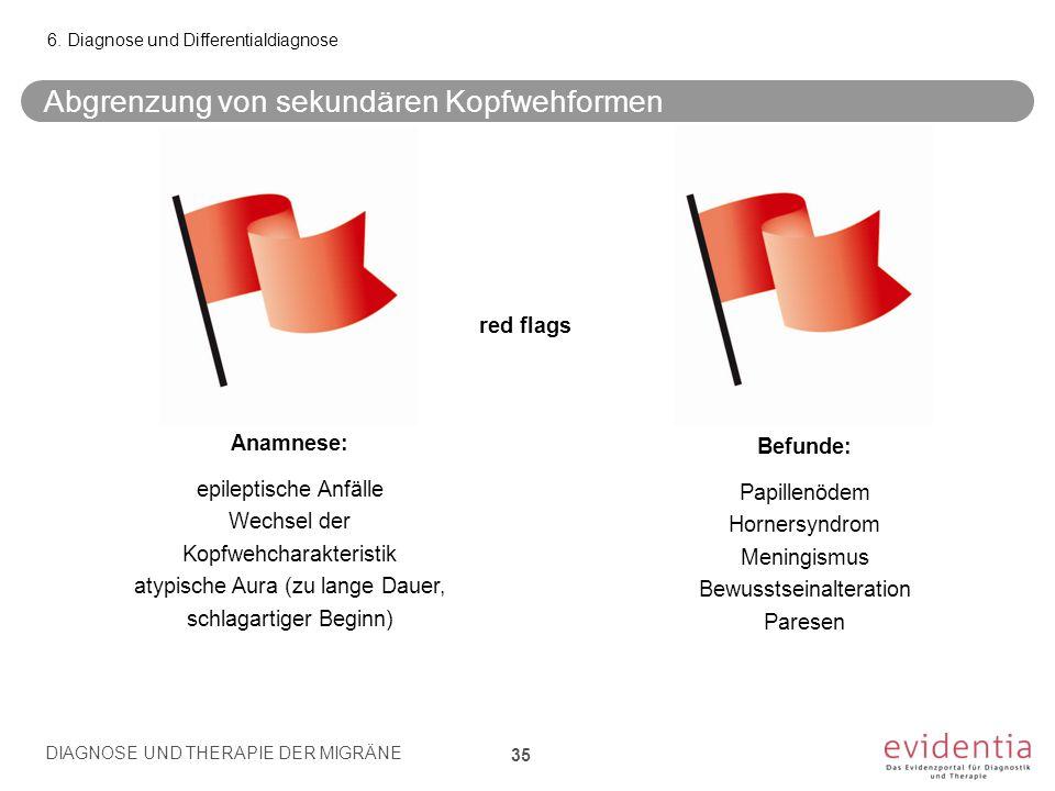 Abgrenzung von sekundären Kopfwehformen 6. Diagnose und Differentialdiagnose red flags Befunde: Papillenödem Hornersyndrom Meningismus Bewusstseinalte