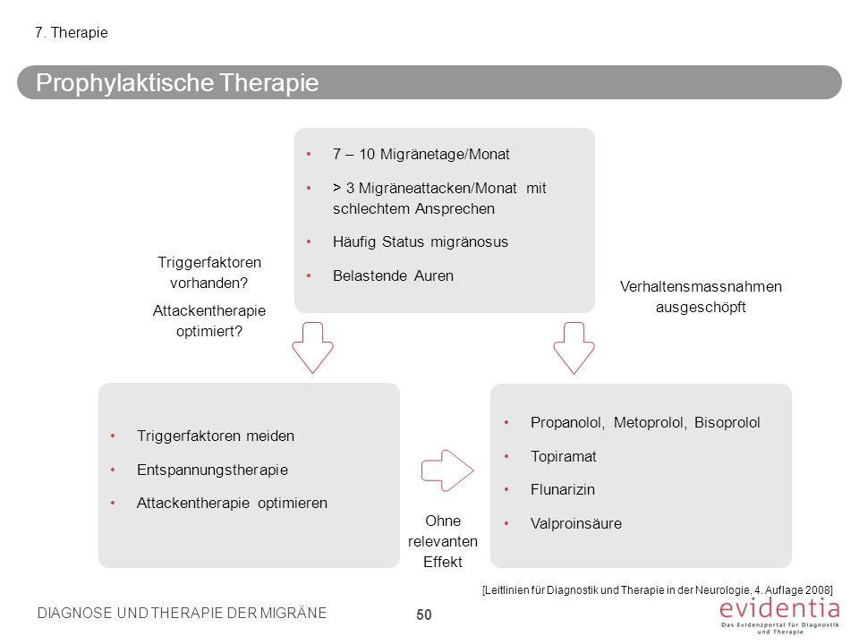 Prophylaktische Therapie DIAGNOSE UND THERAPIE DER MIGRÄNE 50 7. Therapie 7 – 10 Migränetage/Monat > 3 Migräneattacken/Monat mit schlechtem Ansprechen