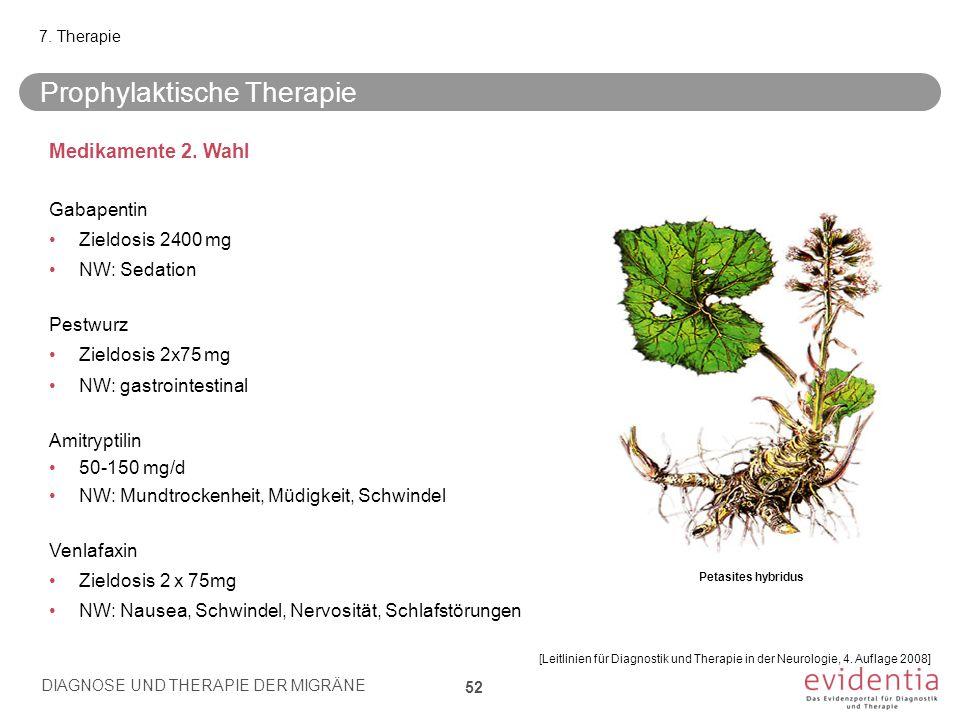 Prophylaktische Therapie 7. Therapie Medikamente 2. Wahl Gabapentin Zieldosis 2400 mg NW: Sedation Pestwurz Zieldosis 2x75 mg NW: gastrointestinal Ami