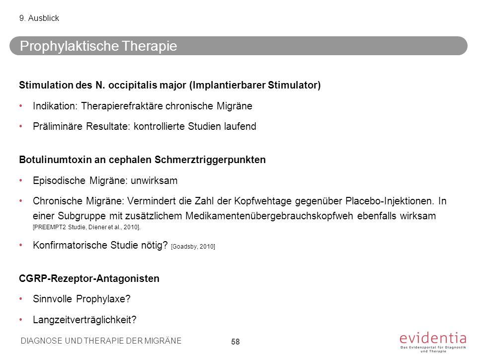 Prophylaktische Therapie Stimulation des N. occipitalis major (Implantierbarer Stimulator) Indikation: Therapierefraktäre chronische Migräne Präliminä