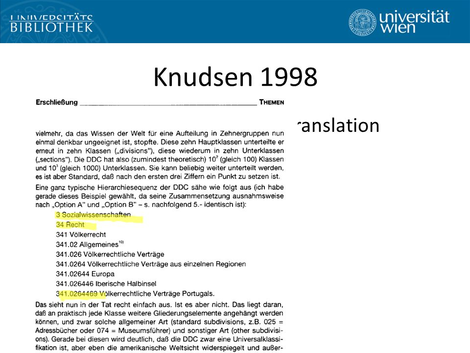 "Knudsen 1998 Discussion paper before the translation project: DDC deutsch – Extremly polemic – ""Deterrent examples"