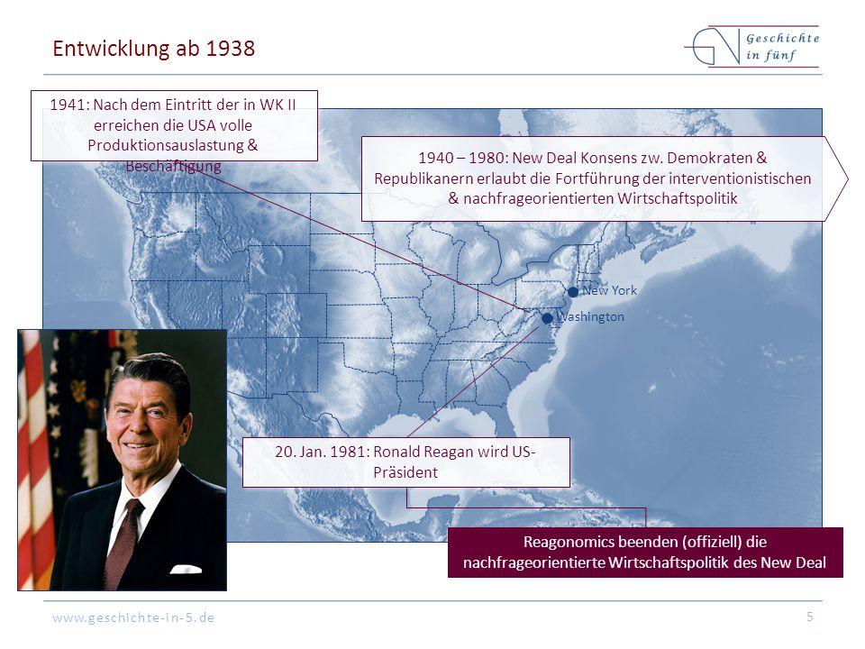 www.geschichte-in-5.de Entwicklung ab 1938 5 Washington New York 20. Jan. 1981: Ronald Reagan wird US- Präsident Reagonomics beenden (offiziell) die n