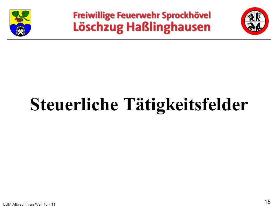 UBM Albrecht van Well 10 - 11 Steuerliche Tätigkeitsfelder 15