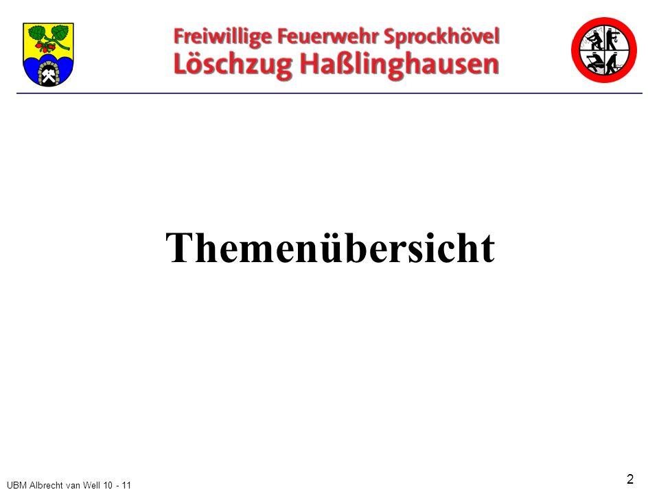 UBM Albrecht van Well 10 - 11 Tätigkeitsbereiche der Feuerwehr und rechtliche Gestaltung Steuerrechtliche Betrachtung der Feuerwehrtätigkeiten 3