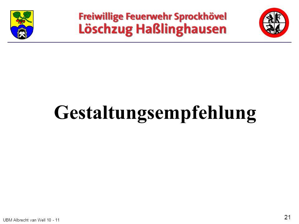 UBM Albrecht van Well 10 - 11 Gestaltungsempfehlung 21