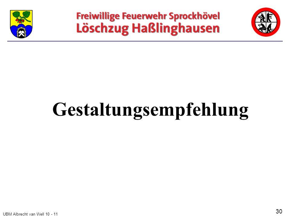 UBM Albrecht van Well 10 - 11 Gestaltungsempfehlung 30