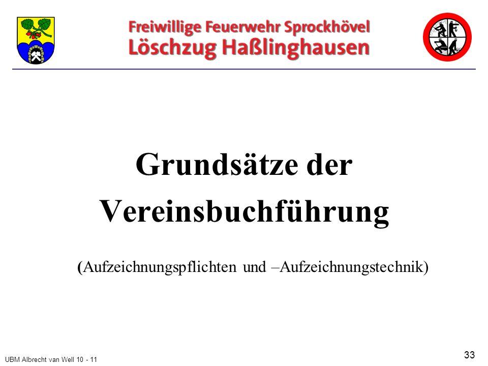 UBM Albrecht van Well 10 - 11 Grundsätze der Vereinsbuchführung (Aufzeichnungspflichten und –Aufzeichnungstechnik) 33