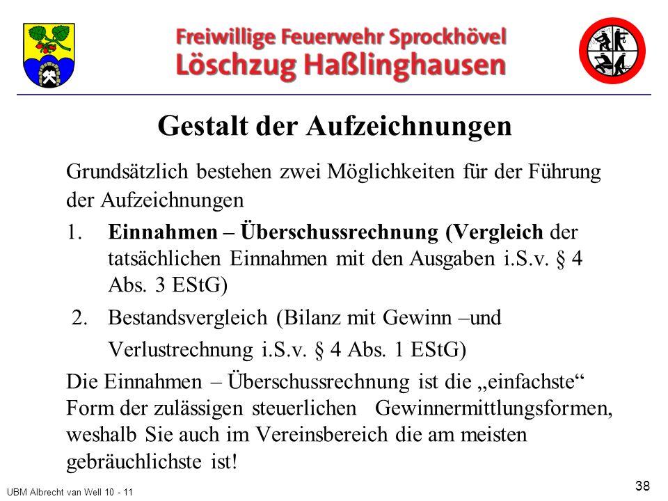 UBM Albrecht van Well 10 - 11 Gestalt der Aufzeichnungen Grundsätzlich bestehen zwei Möglichkeiten für der Führung der Aufzeichnungen 1.