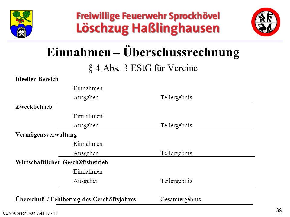 UBM Albrecht van Well 10 - 11 Einnahmen – Überschussrechnung § 4 Abs.