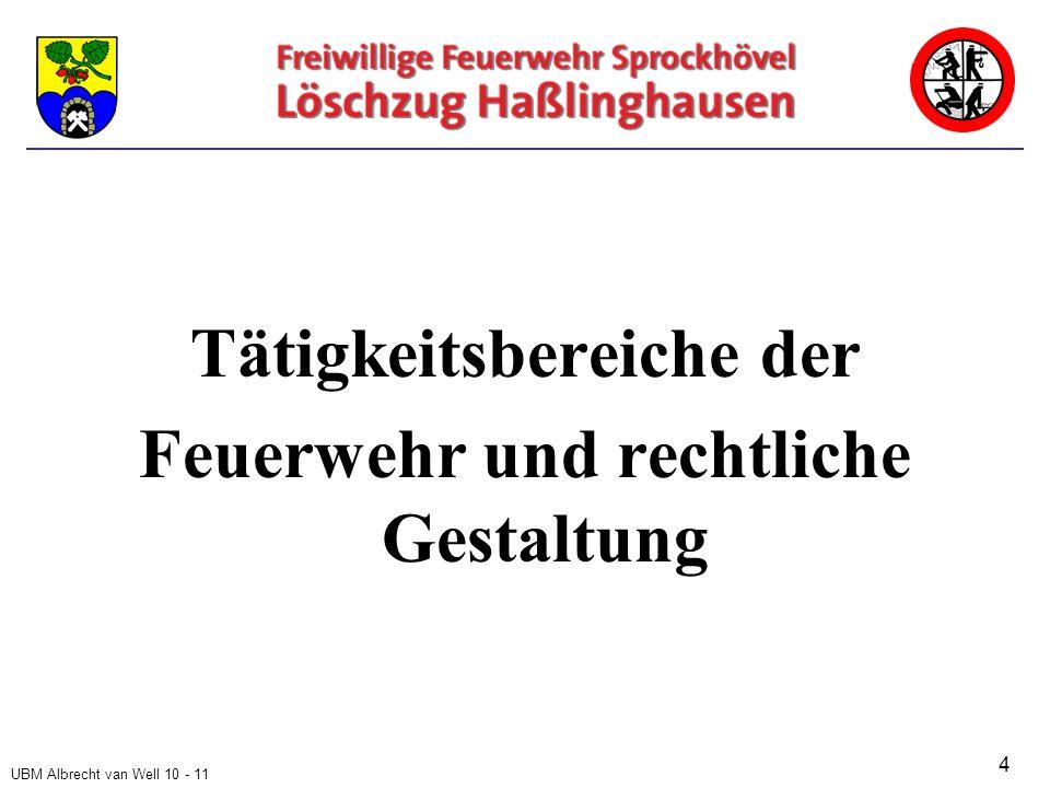 UBM Albrecht van Well 10 - 11 Tätigkeitsbereiche der Feuerwehr und rechtliche Gestaltung 4