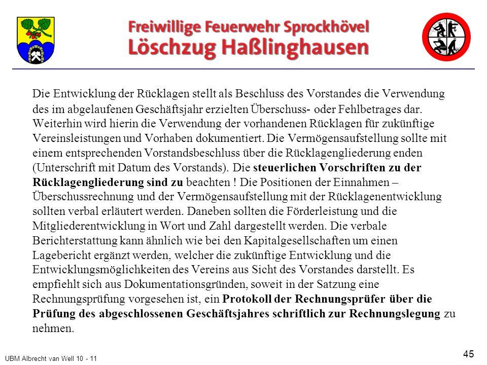 UBM Albrecht van Well 10 - 11 Die Entwicklung der Rücklagen stellt als Beschluss des Vorstandes die Verwendung des im abgelaufenen Geschäftsjahr erzielten Überschuss- oder Fehlbetrages dar.