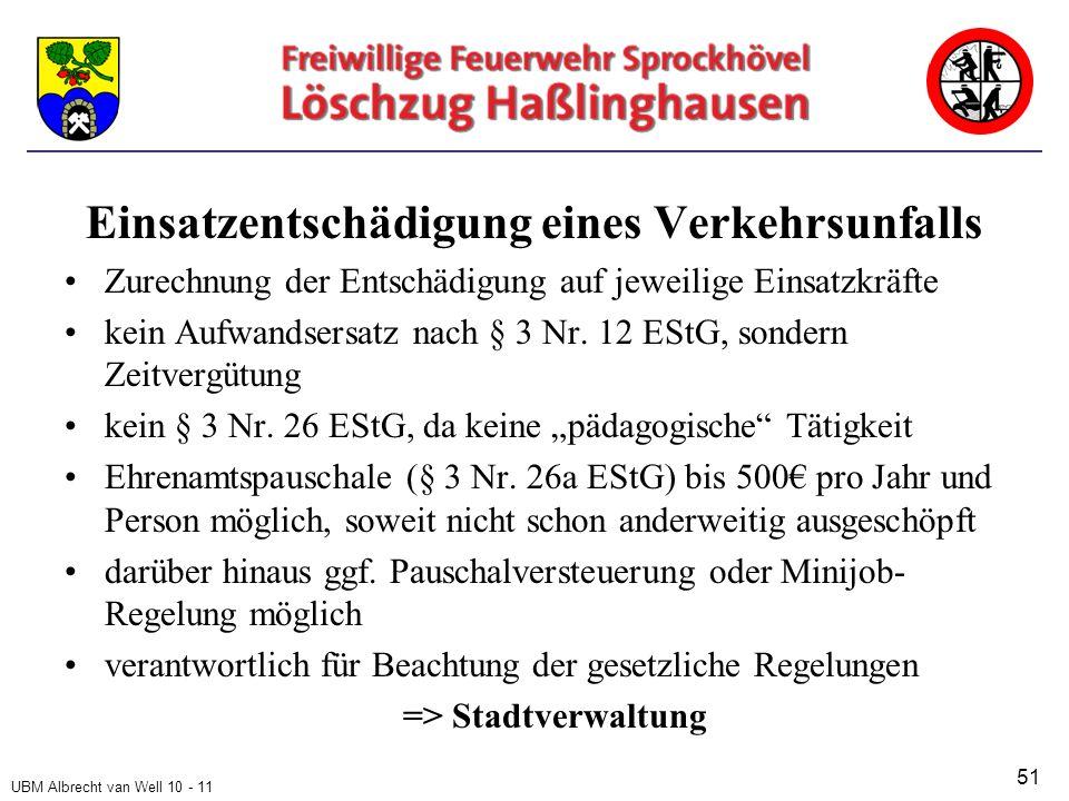 UBM Albrecht van Well 10 - 11 Einsatzentschädigung eines Verkehrsunfalls Zurechnung der Entschädigung auf jeweilige Einsatzkräfte kein Aufwandsersatz nach § 3 Nr.