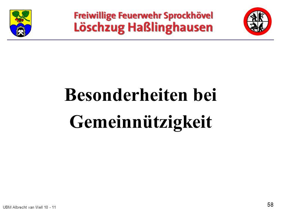 UBM Albrecht van Well 10 - 11 Besonderheiten bei Gemeinnützigkeit 58