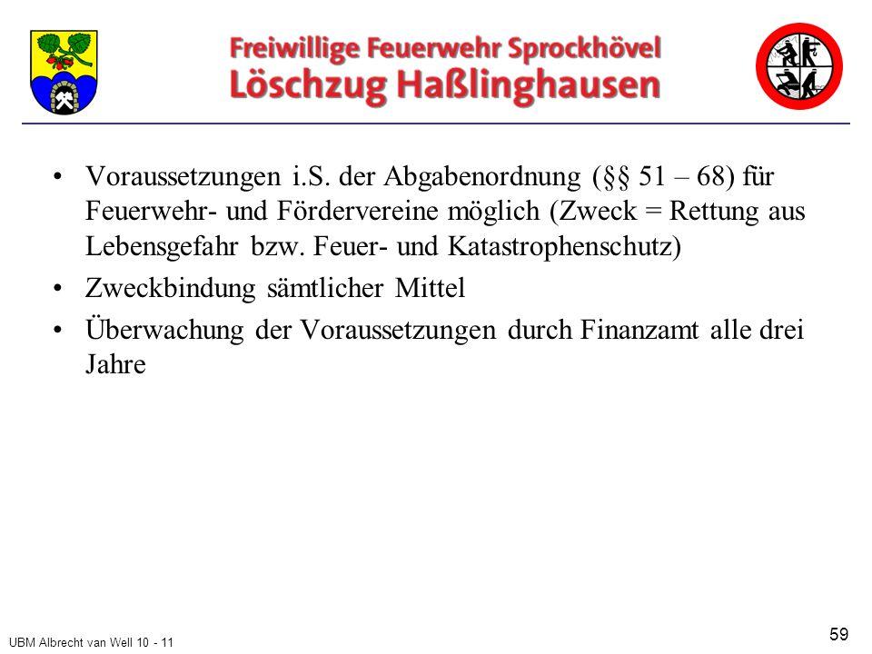UBM Albrecht van Well 10 - 11 Voraussetzungen i.S.