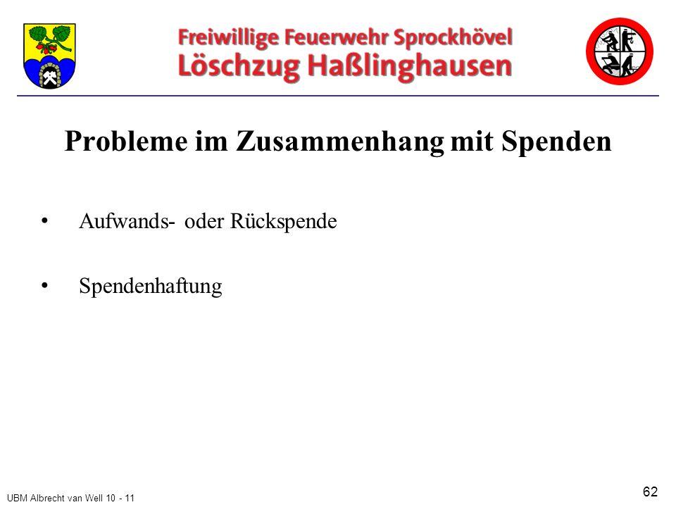 UBM Albrecht van Well 10 - 11 Probleme im Zusammenhang mit Spenden Aufwands- oder Rückspende Spendenhaftung 62