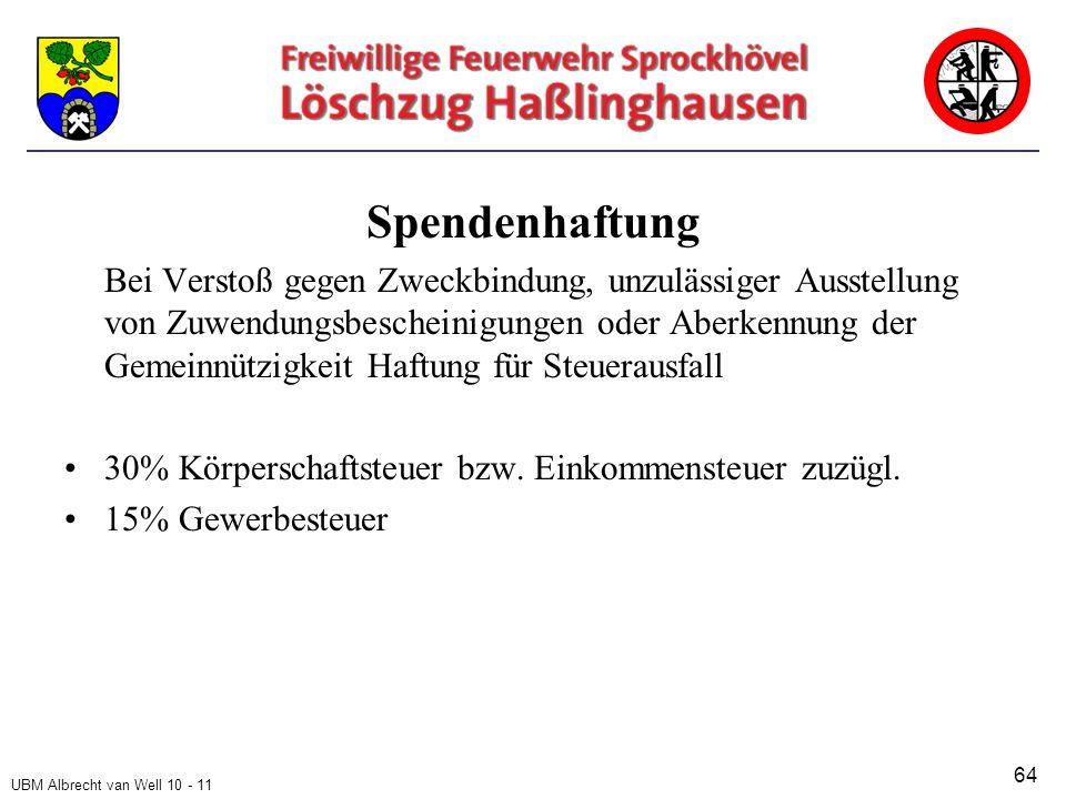 UBM Albrecht van Well 10 - 11 Spendenhaftung Bei Verstoß gegen Zweckbindung, unzulässiger Ausstellung von Zuwendungsbescheinigungen oder Aberkennung der Gemeinnützigkeit Haftung für Steuerausfall 30% Körperschaftsteuer bzw.