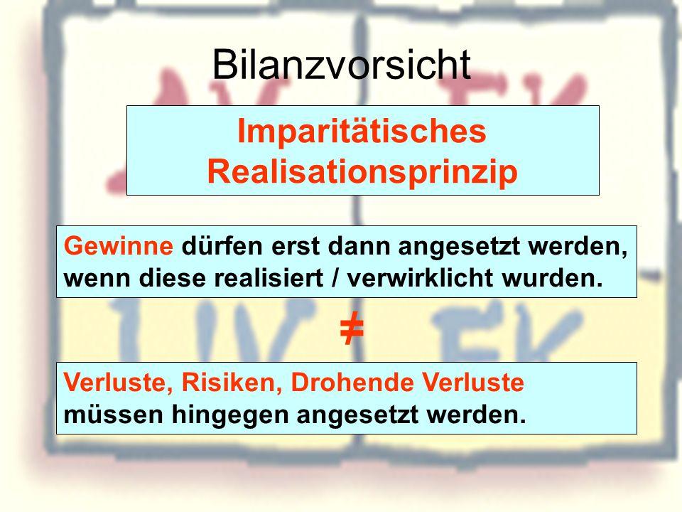 Bilanzvorsicht Imparitätisches Realisationsprinzip Gewinne dürfen erst dann angesetzt werden, wenn diese realisiert / verwirklicht wurden. Verluste, R