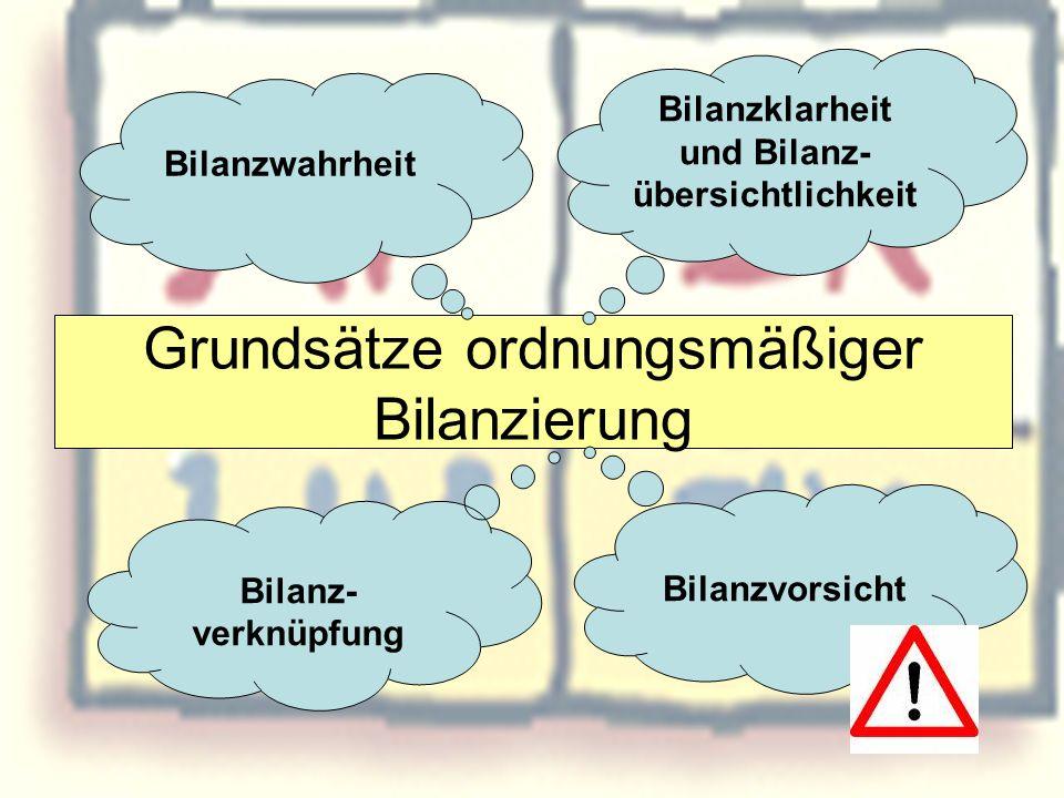 Grundsätze ordnungsmäßiger Bilanzierung Bilanzwahrheit Bilanzklarheit und Bilanz- übersichtlichkeit Bilanz- verknüpfung Bilanzvorsicht