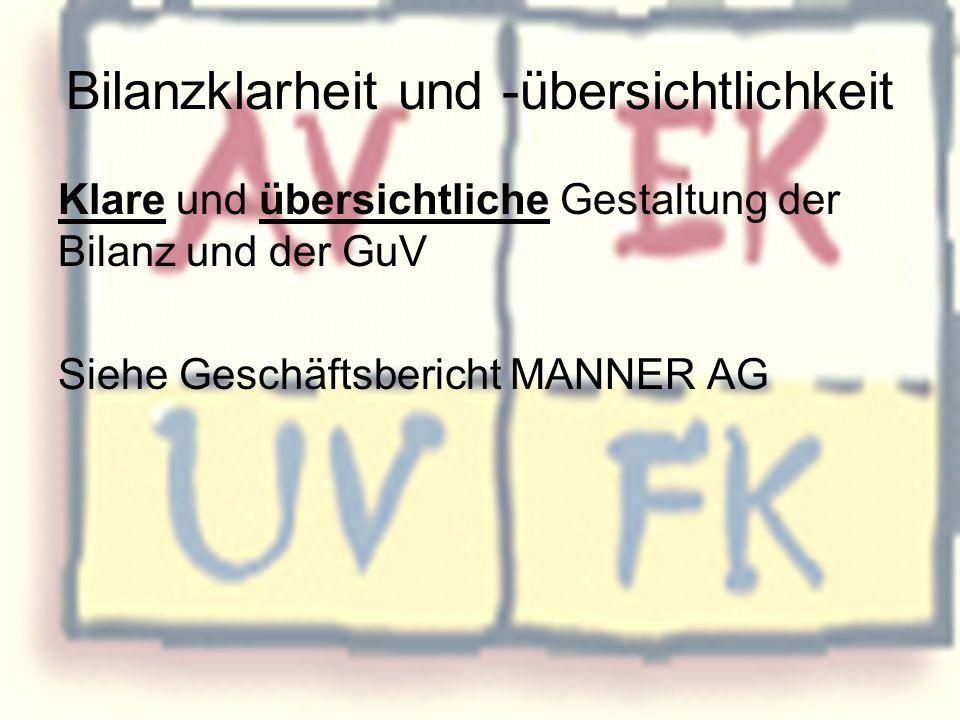 Bilanzklarheit und -übersichtlichkeit Klare und übersichtliche Gestaltung der Bilanz und der GuV Siehe Geschäftsbericht MANNER AG