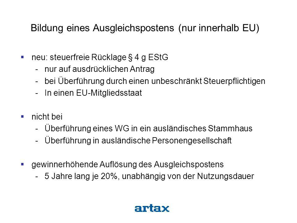 Bildung eines Ausgleichspostens (nur innerhalb EU)  neu: steuerfreie Rücklage § 4 g EStG -nur auf ausdrücklichen Antrag -bei Überführung durch einen
