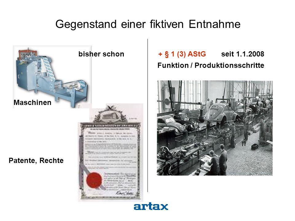 Maschinen Anlagen Funktion / Produktionsschritte + § 1 (3) AStG seit 1.1.2008 Gegenstand einer fiktiven Entnahme bisher schon Patente, Rechte
