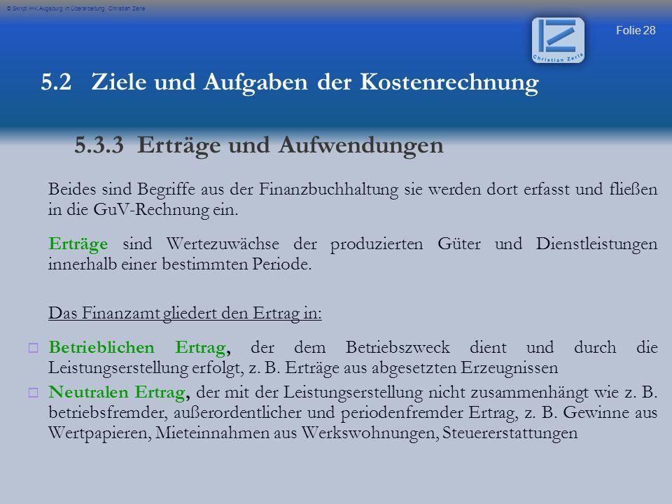 Folie 28 © Skript IHK Augsburg in Überarbeitung Christian Zerle Beides sind Begriffe aus der Finanzbuchhaltung sie werden dort erfasst und fließen in