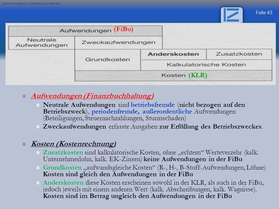 Folie 43 © Skript IHK Augsburg in Überarbeitung Christian Zerle Aufwendungen (Finanzbuchhaltung) Neutrale Aufwendungen sind betriebsfremde (nicht bezo
