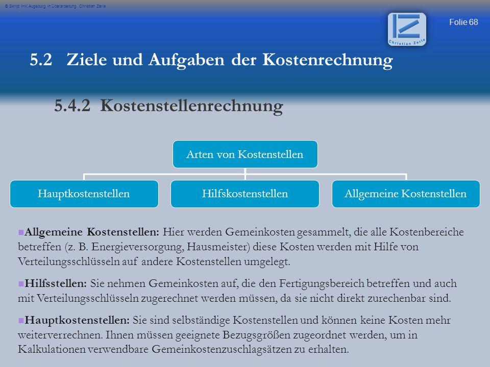Folie 68 © Skript IHK Augsburg in Überarbeitung Christian Zerle Arten von Kostenstellen HauptkostenstellenHilfskostenstellenAllgemeine Kostenstellen A