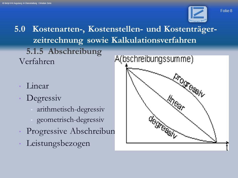 Folie 8 © Skript IHK Augsburg in Überarbeitung Christian Zerle Verfahren Linear Degressiv arithmetisch-degressiv geometrisch-degressiv Progressive Abs