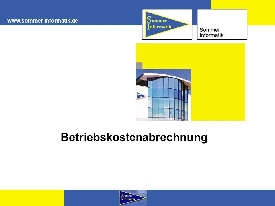 www.sommer-informatik.de Betriebskostenabrechnung