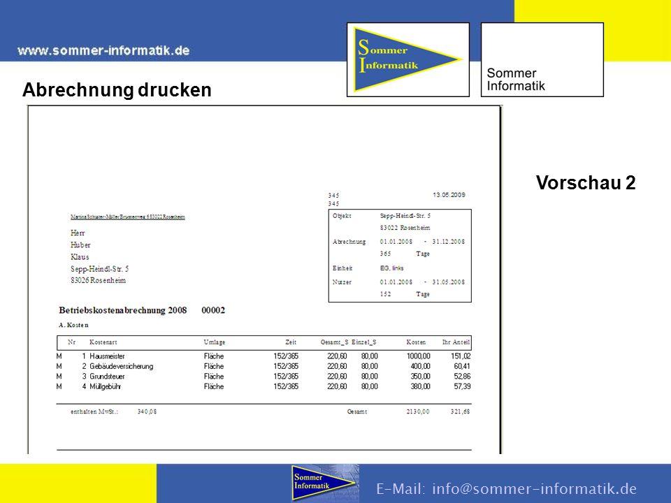 Abrechnung drucken E-Mail: info@sommer-informatik.de Vorschau 2