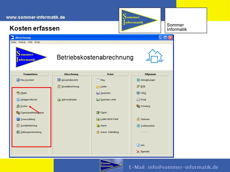 Kosten erfassen E-Mail: info@sommer-informatik.de